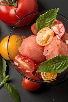 NYT Cooking: This homemade savory tomato sorbet evokes the flavors of gazpacho. It makes a spectacular first course with a salad of cherry tomatoes spooned right over it, along with a few basil leaves.
