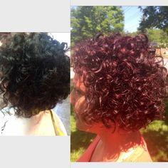 Before & AFTER #devacurl cut #vividviolets #iamgoldwell #reds #goldwell #goldwellny #curls #curlygirlsdontcare 3step style Deva Curl Cut, Red S, Curls, Curly Hair Styles, Crochet Earrings, Roller Curls, Loki, Hair Weaves, Loose Curls
