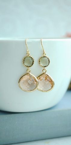 Peach and Olive Earrings, Champagne Peach, Green Glass Framed Dangle Earrings. Bridesmaid Gifts. Maid Of Honor. Green Olive Peach Wedding  https://www.etsy.com/listing/217914428/peach-and-olive-earrings-champagne-peach?ref=shop_home_active_1&ga_search_query=olive%2Bgreen