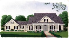 House Plan 95637 | Country Southern Plan with 1990 Sq. Ft., 3 Bedrooms, 3 Bathrooms, 2 Car Garage at family home plans
