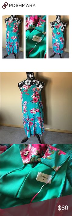 Everly Sheath Dress Teal floral Everly dress. NWOT Never worn Everly Dresses