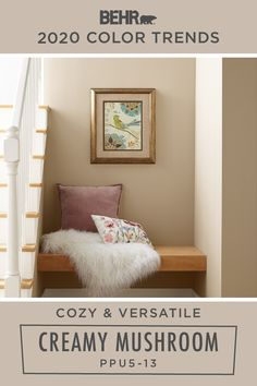Cozy and versatile, there's nothing like a neutral wall color, such as Creamy . Tan Paint Colors, Neutral Wall Colors, Behr Paint Colors, Paint Colors For Home, House Colors, Basement Wall Colors, Room Wall Colors, Living Room Colors, Interior Wall Colors