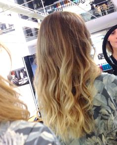 Hairstyle blonde ombre hair colour waves curls