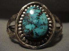 Quality Turquoise Vintage Navajo Blue Diamond Sterling Silver Bracelet