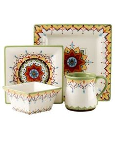 Vida by Eva Mendes Dinnerware, Catalina 4 Piece Place Setting - Casual Dinnerware - Dining & Entertaining - Macy's Casual Dinnerware, Dinnerware Sets, Types Of Glassware, Clay Design, Pottery Painting, Painted Pottery, Christmas Paintings, Pottery Mugs, Hand Painted Ceramics