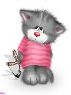 c~ Мобильный LiveInternet Cute Funny Animals, Funny Animal Pictures, Cute Pictures, Kitten Cartoon, Cute Cartoon Drawings, Cat Cards, Cat Drawing, Cat Memes, Cute Stickers