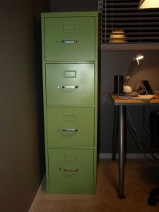 Metal File Cabinet - Painted Green