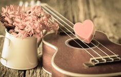 Wallpaper vintage, love, heart, romantic, heart, guitar, flowers wallpapers mood - download