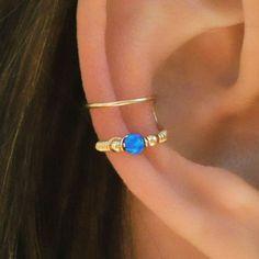 Dark Blue Opal Ear Cuff, Ear Cuff, Fake Piercing, No Piercing, Double Cuff…