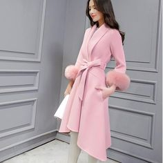 Moda Outfits, Dress Outfits, Fashion Dresses, Modest Fashion, Pink Fashion, Womens Fashion, Fashion Trends, Fashion Coat, Rosa Style