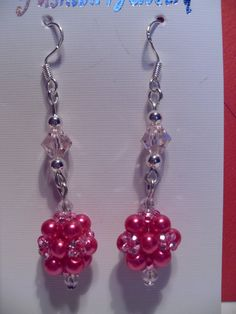 Pink Beaded Earrings by SparklingJewelryShop on Etsy, $10.00