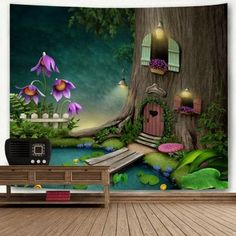 Wonderland Tree House Printed Wall Hanging Tapestry - COLORMIX W91 INCH * L71 INCH Cheap Wall Tapestries, Tapestry Wall Hanging, Landscape Materials, Fashion Themes, Water Plants, Shape Patterns, Home Collections, Wall Prints, Wonderland