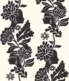 Damask Ladies Wallpaper Female profiles woven subtly into a floral damask-style vine in black, on a white background. Wallpaper from the Vital collection by Jordi Labanda.