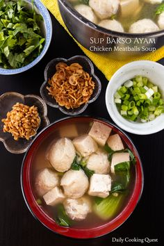 Sup bakso ayam (chicken meatballs soup) can be enjoyed as is, or you can boil some rice noodles, ramen noodles, udon, e.t.c. to make a complete meal.