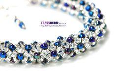 Tubular Chenille Stitch Netted Beaded  Bracelet (0025)