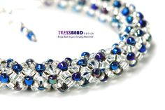 Beadwoven tubular Chenille stitch bracelet made with size 8 glass iris blue and transparent silver-lined Czech seed beads. Bracelet is soft and