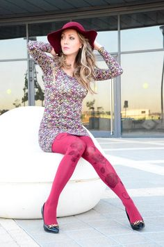 Tights With Black Flowers , Hand Printed Tights , Bordeaux Pantyhose , Leggings Red Pantyhose, Nylons, Pantyhose Outfits, Colored Tights Outfit, White Tights, Opaque Tights, Hot Outfits, Fashion Outfits, Nice Outfits
