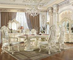 Dining Room Table Centerpieces, Solid Wood Dining Table, Wooden Tops, Traditional, Interior, Luxury Home Furniture, Luxury Dining Room, Prince And Princess, Ivory White