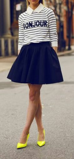 Dark blue skirt + stripe shirt, this is adorable!