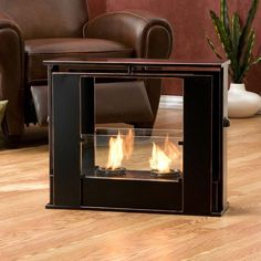 Enliven any space with this portable metal gel fuel fireplace.