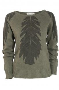 , knit sweater, fall fashion, knit, fall 2013, kristine vikse, black feather, wool, feather print, olive green