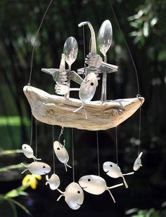 Belle prise carillon de vent, paire de pêcheurs, cuillère poisson & bois flotté minable, anniversaire de couple, décor de pendaison de crémaillère, canne à pêche en pole, meilleur cadeau