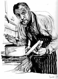 Vincent Price cooks, Pen & ink By the Caswell Twins Http://www.facebook.com/vanashartwork #realism #inkdrawing #sharpiedrawing  #draw #greyscale #movie  #filmart #dynamicduos #realisticdrawing #spooky #scary #horror #horrorfilm #Vincentprice