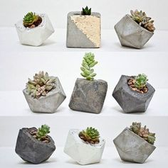 DIY concreted vases