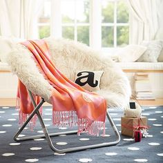 Ivory Furlicious Faux-Fur Hang-A-Round Chair #pbteen