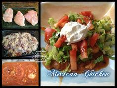Mexican Chicken (pollo mexicano)~~  3-4 boneless chicken breasts 1 can re-fried beans 1 can enchilada sauce, red or green 1 can green chilies 8 oz Mexican shredded cheese chopped onion chopped mushrooms  Toppings (optional) chopped tomato chopped lettuce sour cream brown rice  Pre-heat oven to 350 degrees. Lay chicken breasts on bottom of 9x13 baking dish. In bowl mix re-friend beans, chopped onions, enchilada sauce and green chilies all together until well mixed. Once all mixed up pour over…