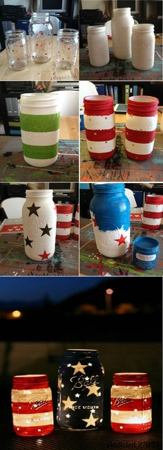 Diy Patriotic Mason Jar Lanterns - There's no missing out on Mason jars if you're making something for the 4th of July, because it is an authentic american product, but luckily it can be used in so many ways. This time, you can use them so that you can make patriotic lanterns. They will make a great centerpiece throughout the day and great lanterns throughout the night. Easy to make and multi functional, you just have to make them!