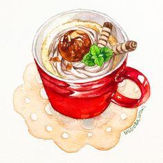 "634 Likes, 7 Comments - watercolor food painting/맛있는그림 (@dalgura) on Instagram: ""마롱라떼. 12월이 가기전까진 계속 빨강빨강 할듯.. #マロンラテ#marronlatte#마론라떼…"""