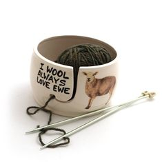 I wool always love ewe Punny Sheep ceramic yarn bowl for knitting / crochet - ceramic yarn bowl Very ewe-nique gift for someone who loves to knit or crochet! Th