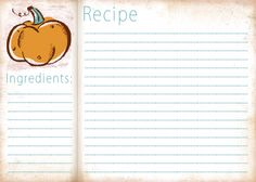 Pumpkin Fall Recipe Card