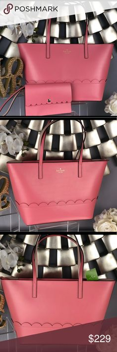 """Kate Spade Lida Bradbury Street Pink Tote Bag Kate Spade Lida Bradbury Street Pink Tote Bag   NWT...Brand New Color: Yuca/Dolce (pink/beige)  Appropriate Dimensions:  9.8"""" H x 11.6"""" W x 5"""" D Handle Drop 8.3""""  *Wristlet sold separately in my closet kate spade Bags Totes"""