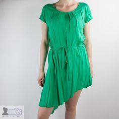 BNWT ZUZI-ZUZI Green Long Short Dress Pleats sz 8 Side Short Side Long New