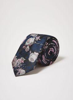 Topman Navy and Pink Floral Tie Groom Ties, Tie And Pocket Square, Floral Motif, Cufflinks, Asos, Nordstrom, Navy, Classic, Pattern