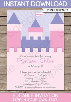 Princess birthday party invitations birthday invitation card princess birthday party invitations template pinkpurple filmwisefo