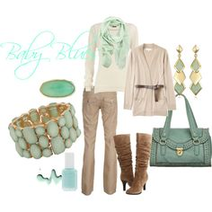beige pants, white long-sleeve shirt, beige cardigan with belt, brown boots/flats, and turquoise bracelet/earrings/nail polish