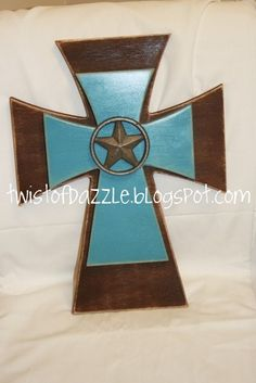 Medium Brown and Blue Western Cross topped with a by twistofdazzle, $35.00
