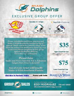 Join us as we have a blast t a Dolphins game and raise funds for the Make- A-Wish South Florida!