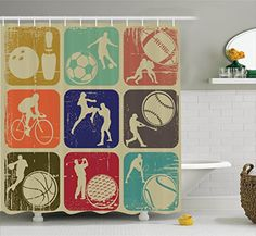 Sports Decor Shower Curtain Set By Ambesonne Assorted Sports Banners In Vintage Grunge Effect Tennis Soccer