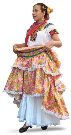 Tabasco Traditional Chontal Dress The typical dress from Tabasco is usually a skirt using a flower print fabric, a white blouse, and embroidery figures in the collar and sleeves. This one in particular is a modern design from the Mayan Chontal indigenous women. They also like to wear sophisticated hairstyle with flowers. Their clothing has evolved through history; in the past before the Spanish arrived, they had a simpler apron and top.