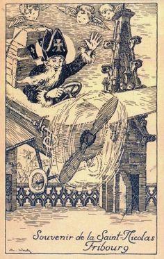 Ancienne carte. 1927, Souvenir de la Saint-Nicolas, Fribourg