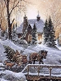 weihnachten nostalgie A White Christmas! Christmas Scenes, Christmas Pictures, Christmas Art, Winter Christmas, Vintage Christmas, Christmas Clipart, Christmas Decorations, Illustration Noel, Christmas Illustration