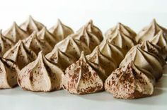 Chocolate Meringues - I think this is my new favorite treat. Tastes like the brownies at the edge of the pan! 5 ingredients: egg whites, cream of tartar, cocoa powder, powdered sugar & vanilla