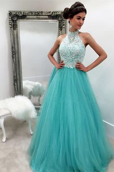 princess prom dresses, a-line prom dresses, mint dresses, halter ball gowns, sweet 16 dresses, quinceanera dresses#SIMIBridal #promdresses