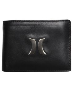 SURFSTITCH - MENS - WALLETS - HURLEY ICON LEATHER WALLET - BLACK