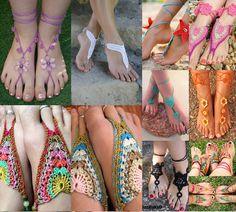 Dinha Ponto Cruz: Barefoot Sandals, Crochê para o pés!