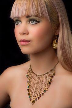 Crystal and chain collar necklace by kayleighforsythe on